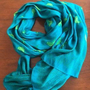 Stella & Dot teal with green bird scarf or wrap